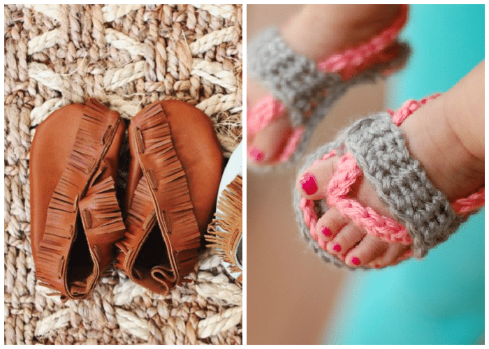 handmade baby slippers and crocheted baby sandals