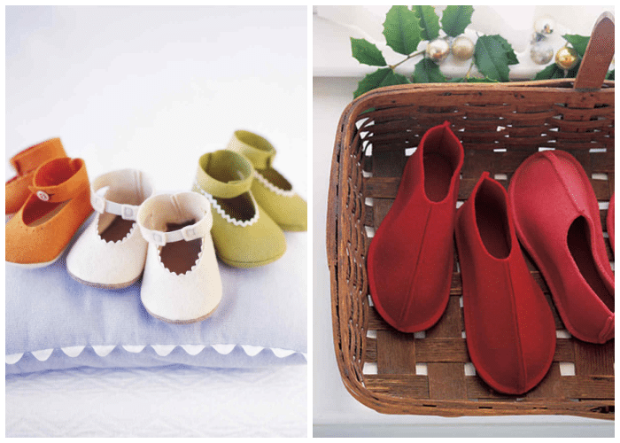 two images of handmade baby shoes made from felt