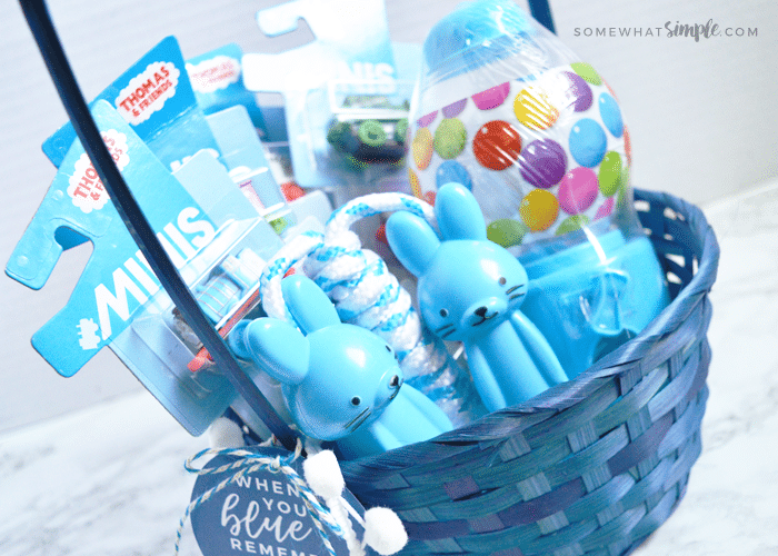 an Easter basket with all blue items