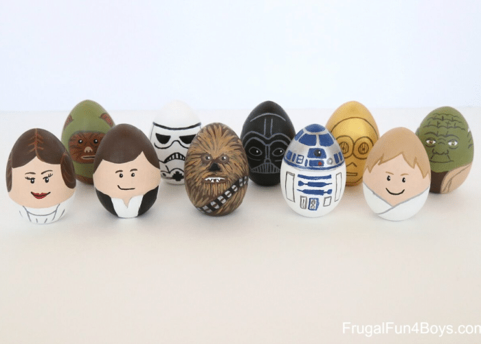 easter eggs decorated like star wars characters