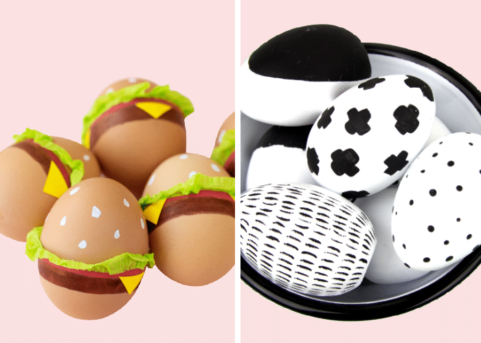 easter eggs decorated to look like hamburgers next to black and white sparpie decorated easter eggs