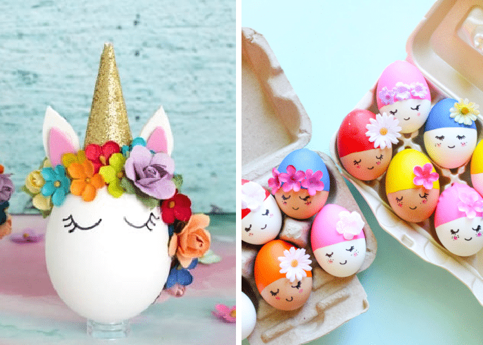 easter eggs decorated like unicorns and synchronized swimmers