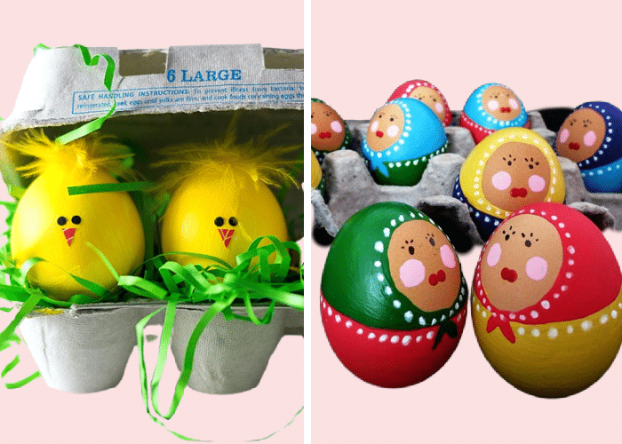 easter eggs that look like baby chicks and babushka dolls