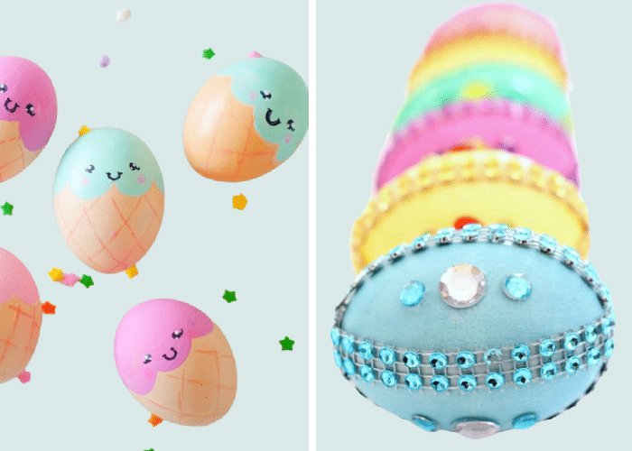 eggs that are painted to look like disney princesses and ice cream cones