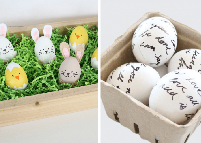 eggs that look like bunnies and chicks next to eggs with love letters written on them