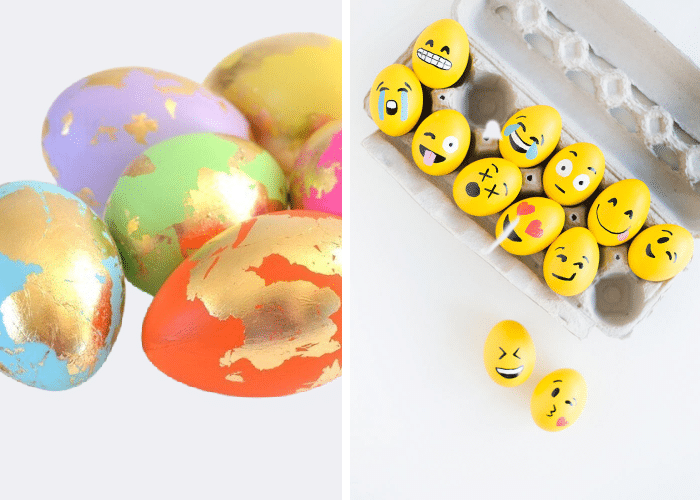 eggs decorated to look like yellow emojis