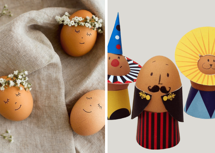 eggs decorated like flower girls and circus characters