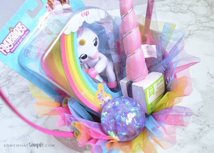 a rainbow themed Easter basket