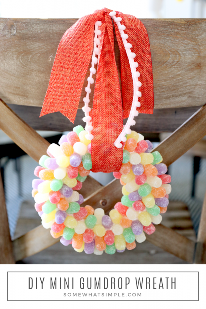 gumdrop wreath hanging on the back of a chair
