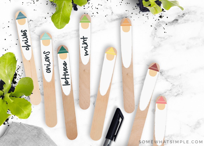 gnome printables glued to craft sticks to put in your garden