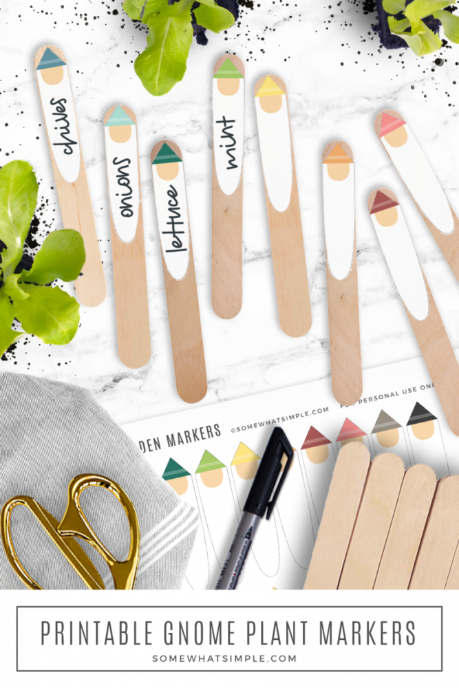 gnome garden markers printable on wooden craft sticks