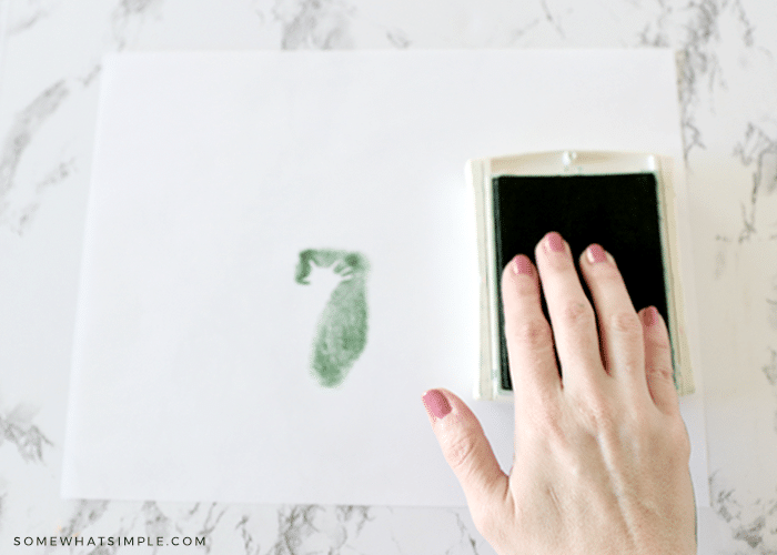 fingers being pressed into a green stamppad