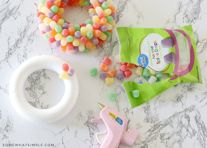 making a wreath with styrofoam and gumdrops