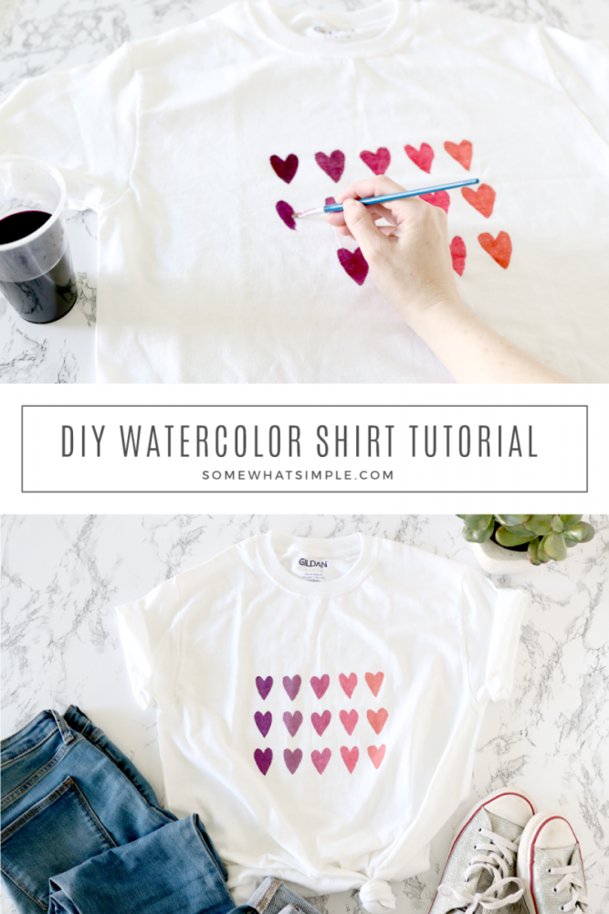 collage of pictures showing how to make a watercolor t shirt