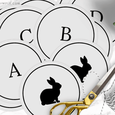 gray circles with letters and bunnies on them to make an easter banner