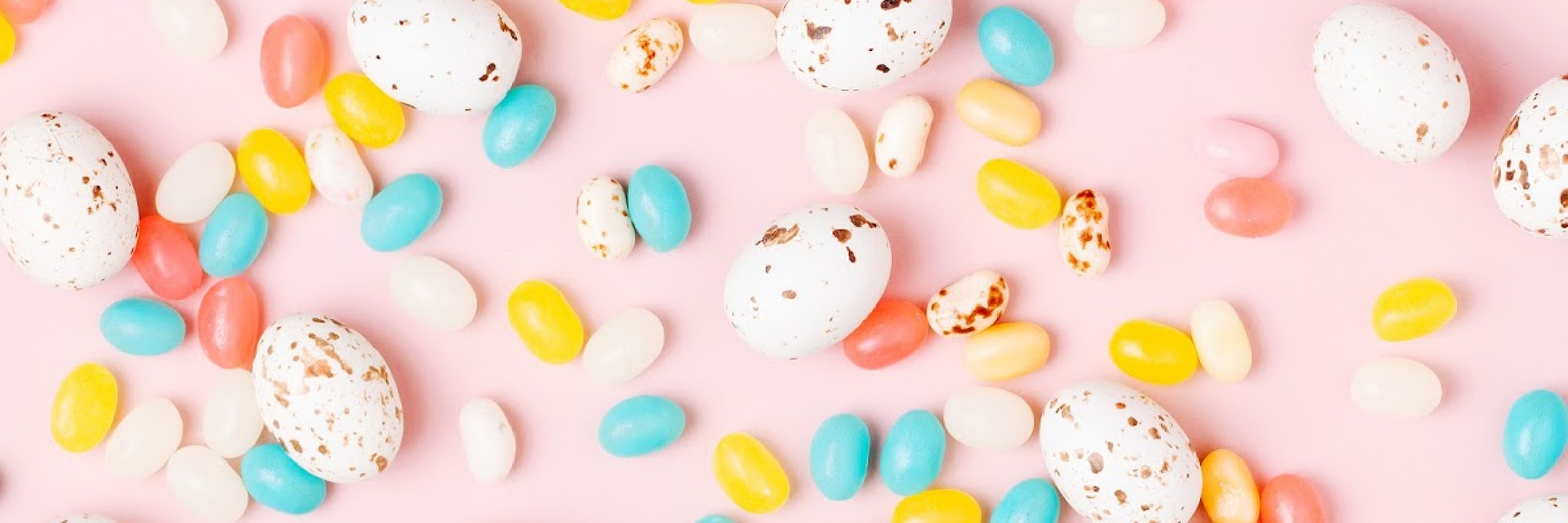 Stylish Candy background.  Easter concept . Flat lay
