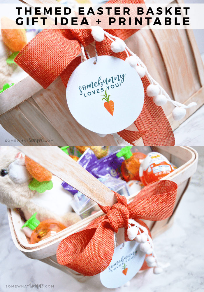 a themed Easter basket with free printable tags
