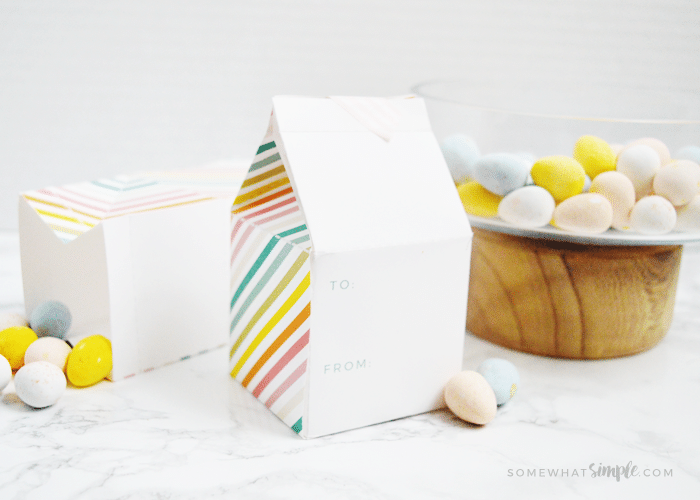 a cute easter treat box you can make with paper and fill with candy