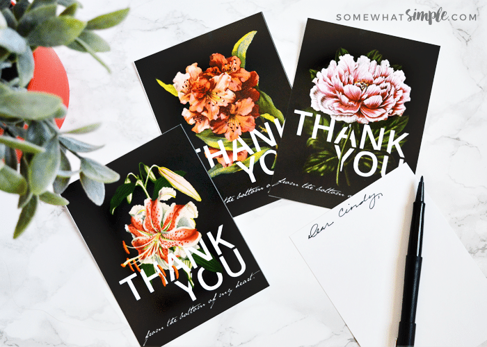 black thank you cards with flowers