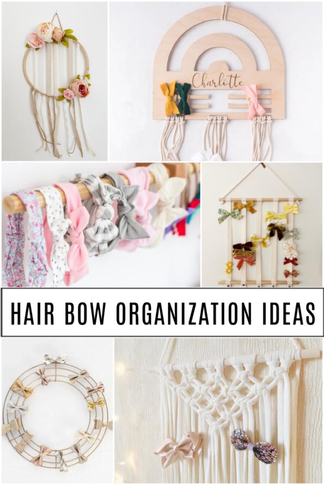 collage of hair bow organization ideas