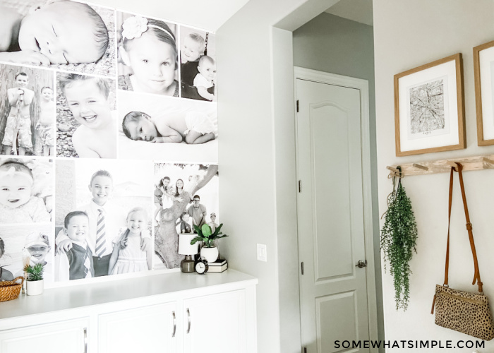 entry way with wall featuring a black and white photo collage
