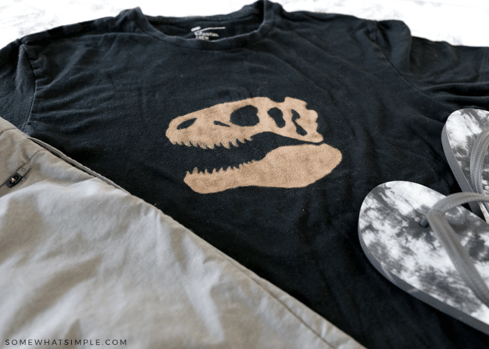 bleached t shirt with dinosaur