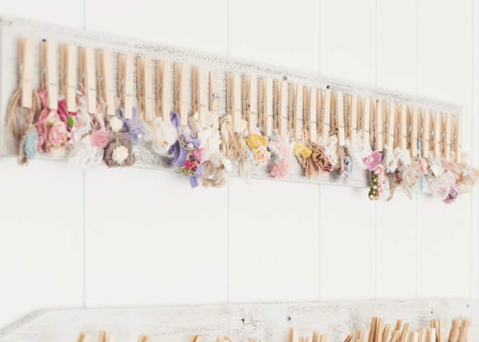 hair bows clipped with clothes pins