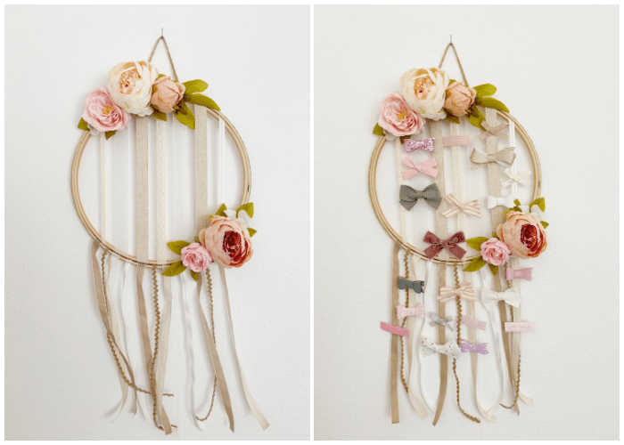embroidery hoop bow organizer