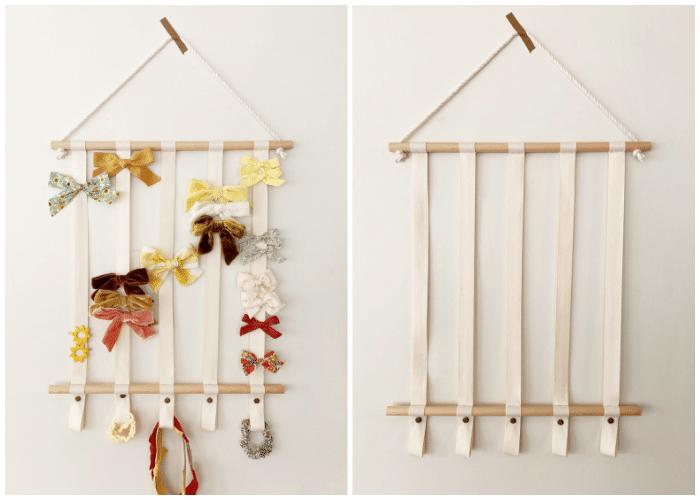 wooden dowel bow organizer