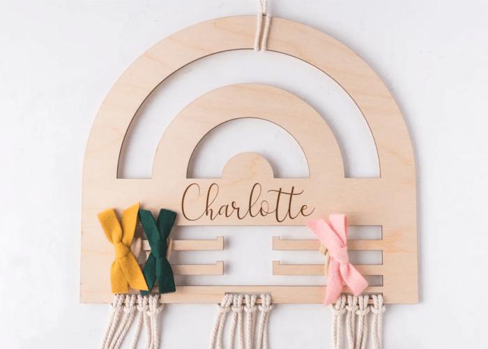 bow organization idea made from a wood rainbow