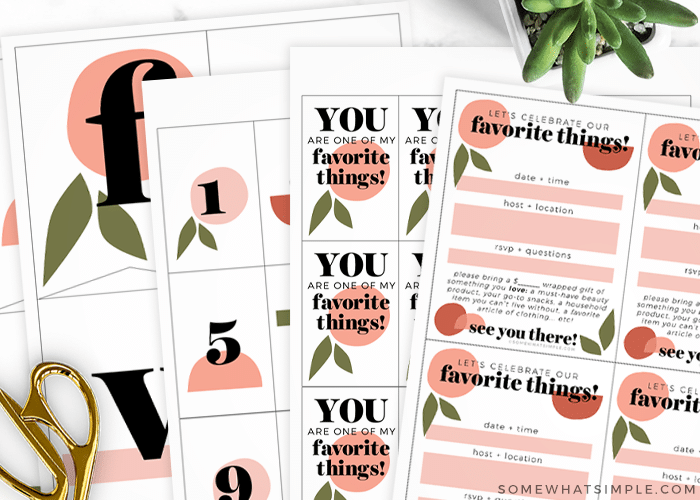 favorite things party printables