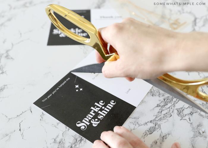 cutting out a card for a teacher