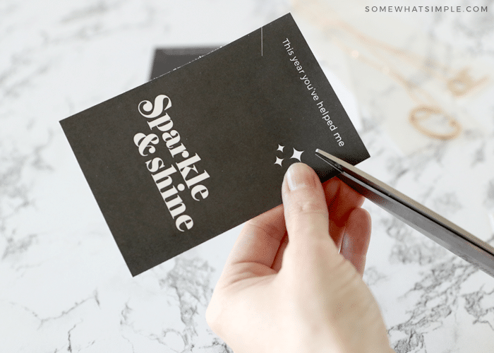 cutting a slit on the right side of the card