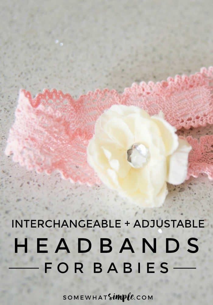 DIY Baby Headband tutorial with a pink lace headband and white flower