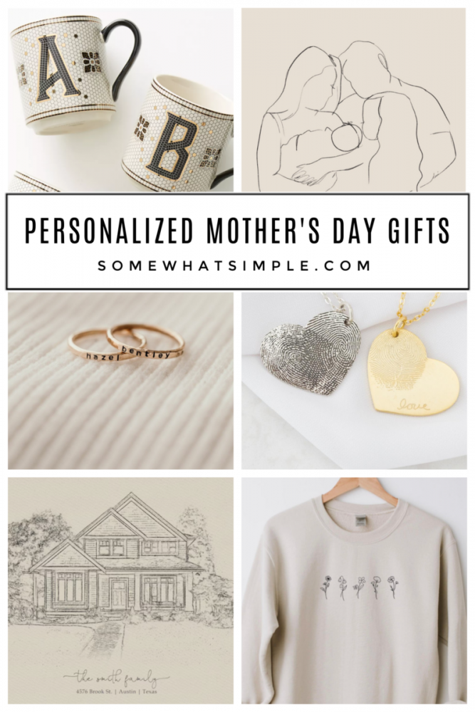 collage of personalized mothers day gifts