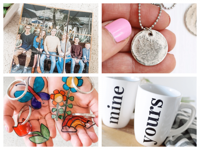 collage of handmade gifts for mom