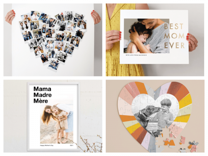 Collage of 4 personalized photo gifts for mom
