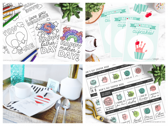 collage of printable mothers day gifts