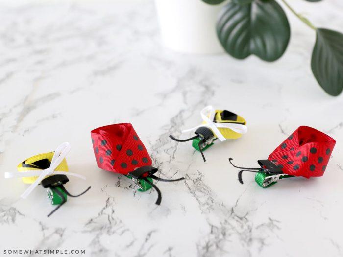 bug bows made from ribbon