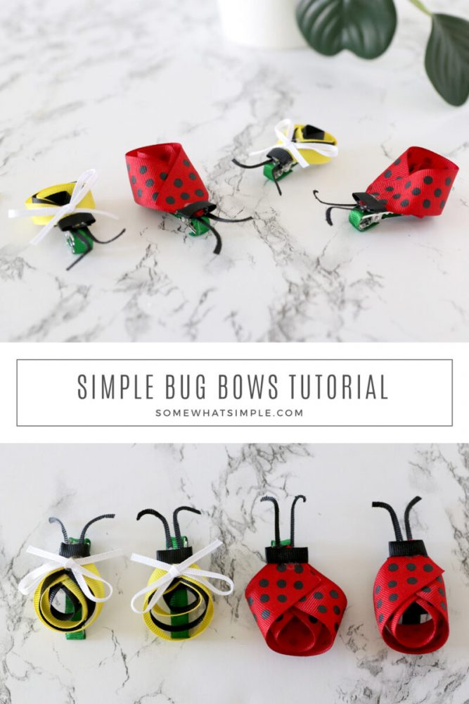collage of pictures featuring how to make bug bows