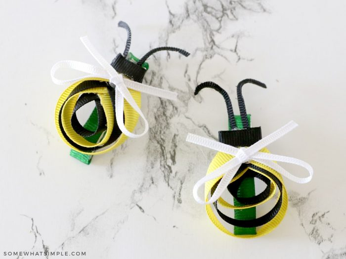 two bee bows on a white counter