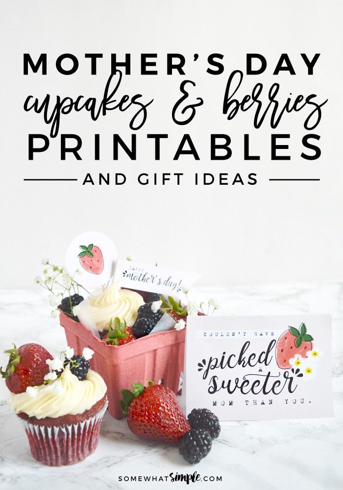 red velvet cupcake with free printable mothers day card