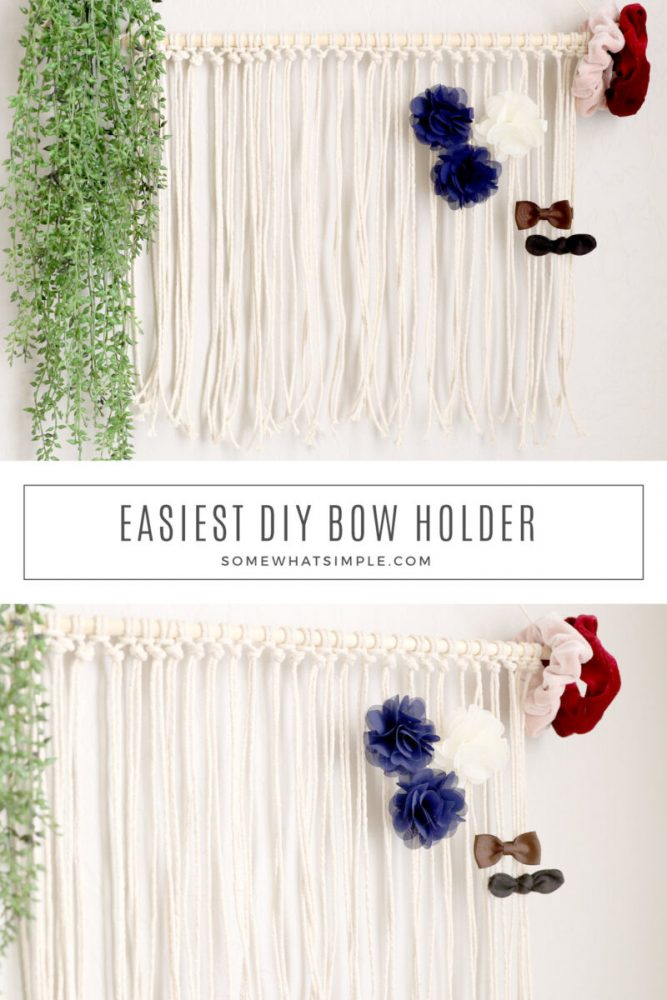 collage of images of a DIY bow holder