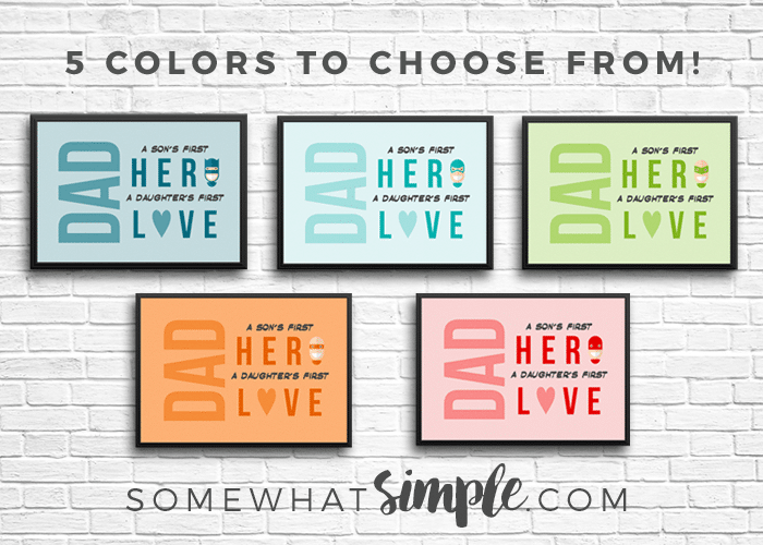 5 colors to choose from for this easy dad quote gift idea