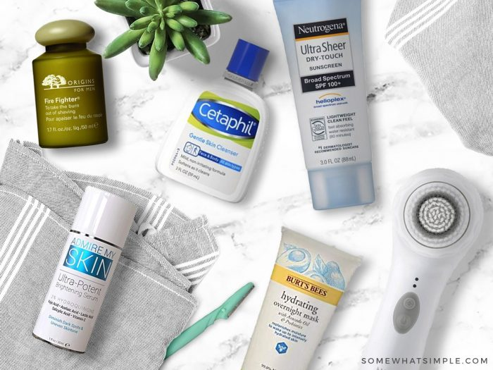 favorite face products laid out on a white counter