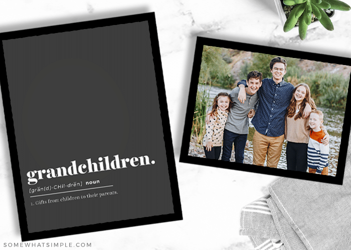 a framed gift for grandma with a cute quote and picture of her grandkids