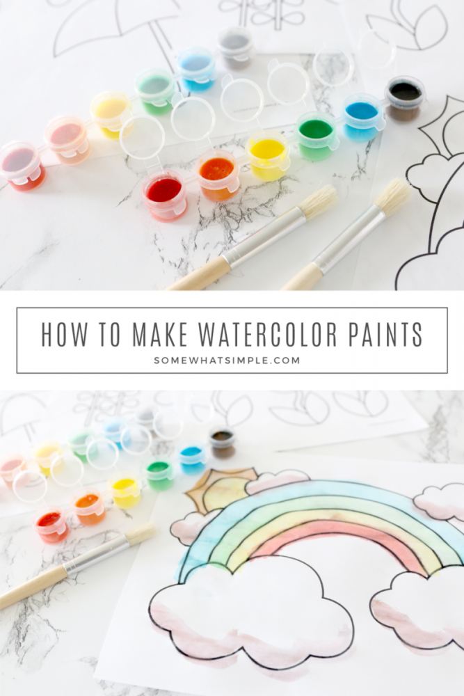 collage of homemade watercolors paints