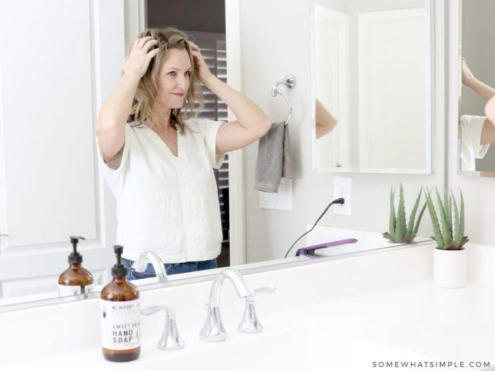 running fingers through your hair