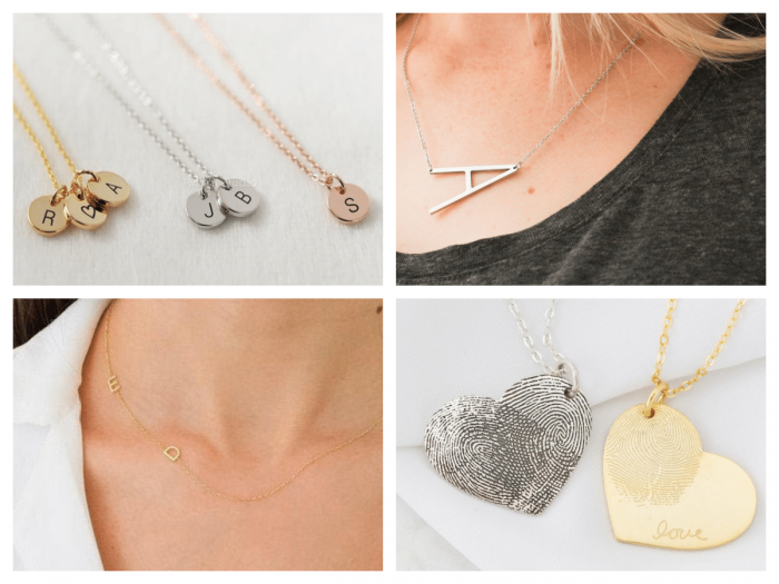 collage of mothers day necklaces