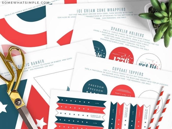 4th of July Party Printables next to scissors